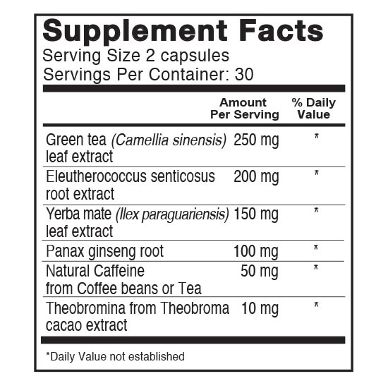 Private Label Energy Support with Adaptogens Supplement Facts