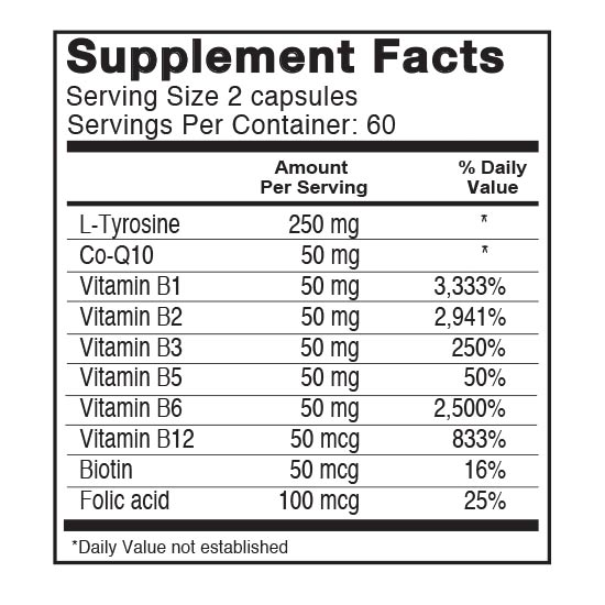 Private Label Energy Formula Supplement Facts