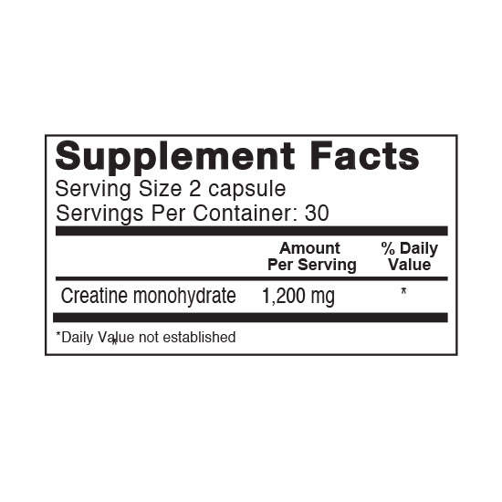 Private Label Creatine 1200mg Supplement Facts