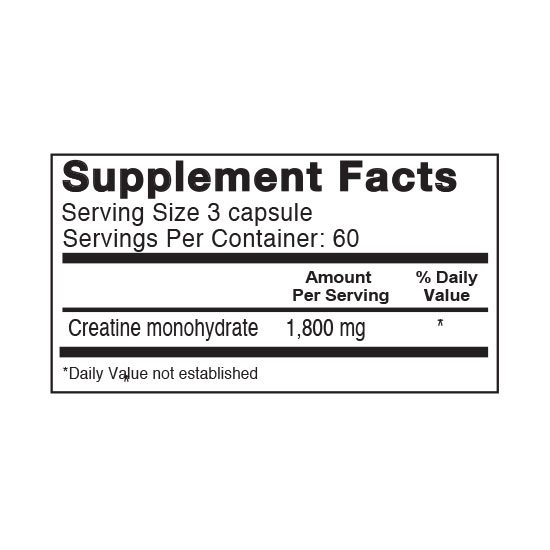 Private Label Creatine 1800mg Supplement Facts